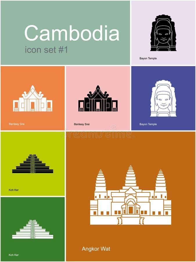 Pictogrammen van Kambodja vector illustratie