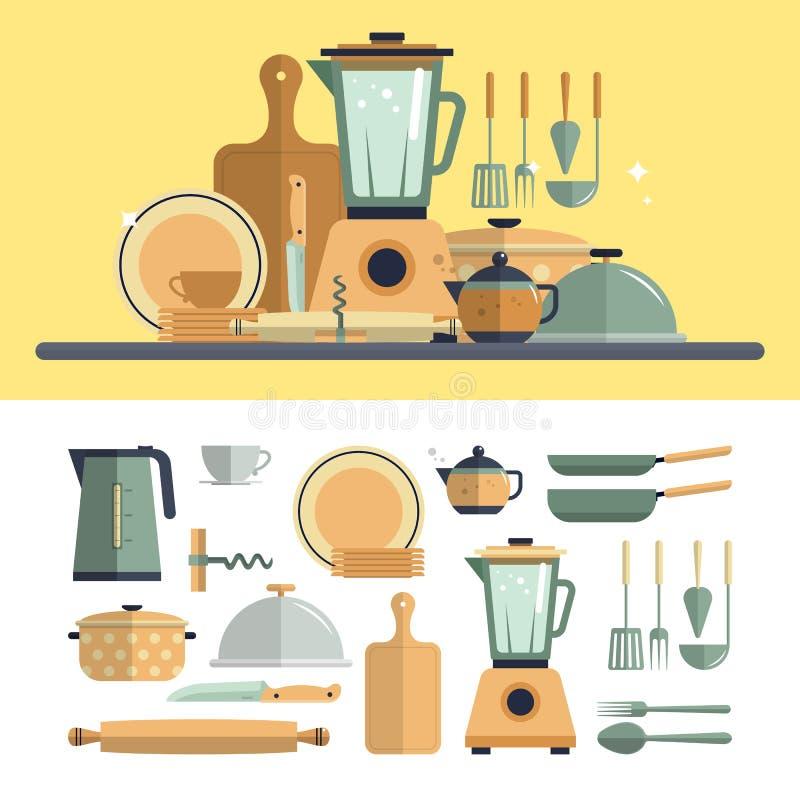 Pictogrammen van keuken de kokende werktuigen op wit royalty-vrije illustratie