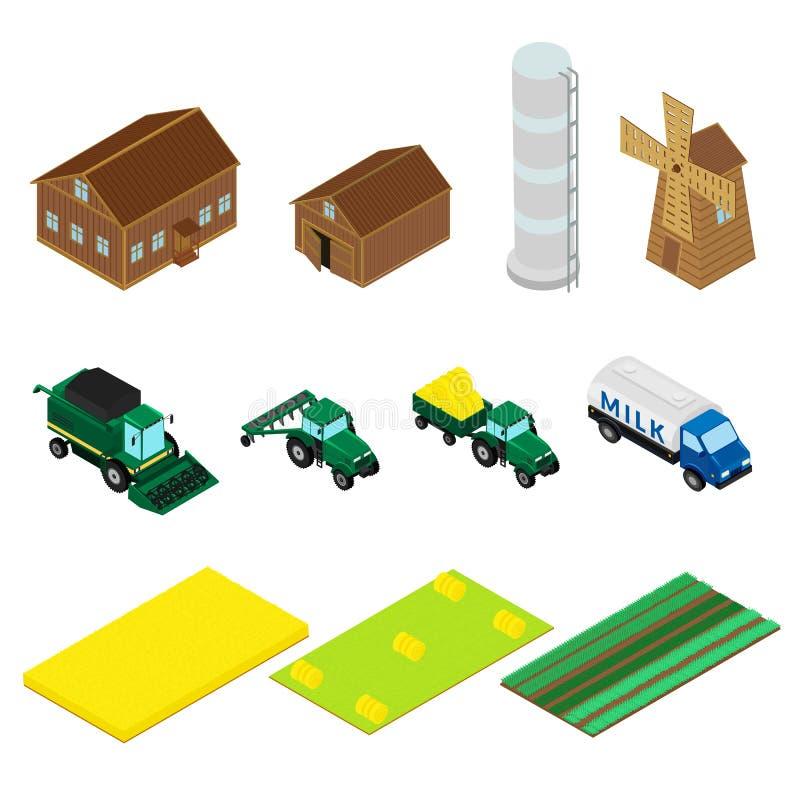 Pictogrammen van landbouwbedrijfgebouwen en landbouwmachines stock illustratie
