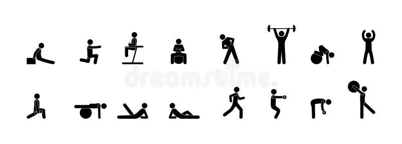Pictogrammen van mensen in de gymnastiek, geschiktheids, yoga en sterkteoefeningen, geïsoleerde reeks van silhouet royalty-vrije illustratie