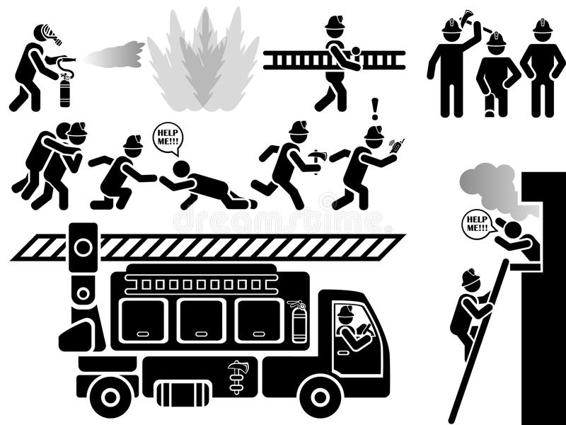 Pictogrammen van mensen in de zwarte brandbestrijders van de thema stedelijke redding vector illustratie