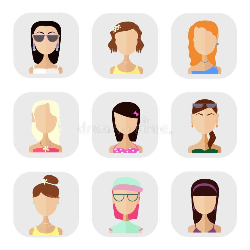 Pictogrammen van mensen in een vlakke stijl stock illustratie