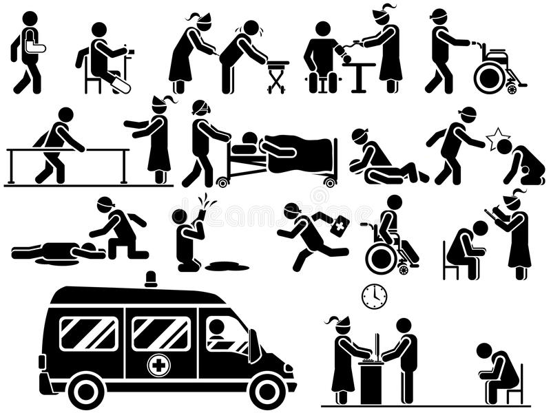 Pictogrammen van mensen in het zwart-witte themaziekenhuis stock illustratie