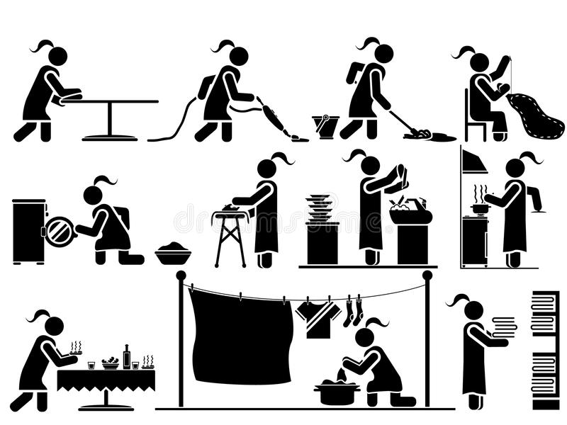 Pictogrammen van mensen in zwart themahuishoudelijk werk vector illustratie