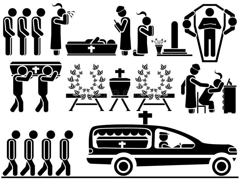 Pictogrammen van mensen in zwarte themabegrafenis royalty-vrije illustratie