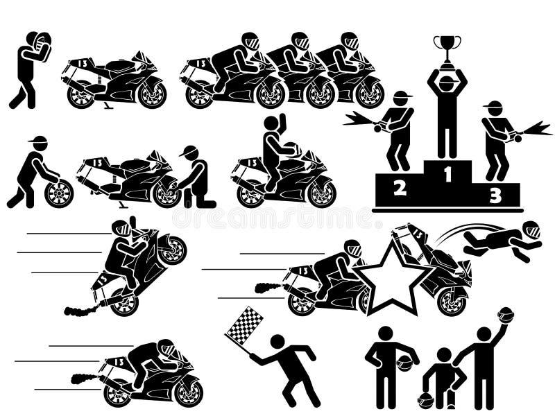 Pictogrammen van mensen in zwarte themamotorfietsen stock illustratie