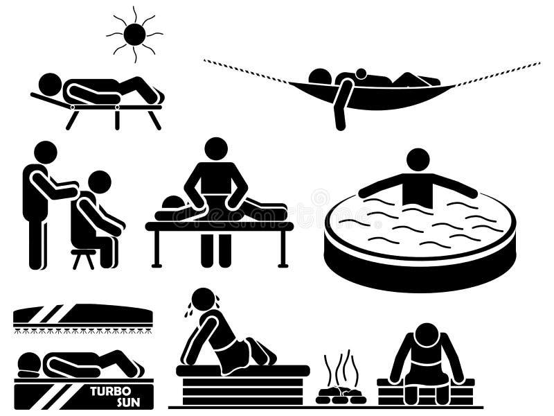 Pictogrammen van mensen in zwarte themaontspanning stock illustratie