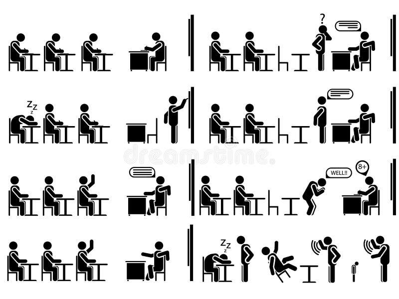 Pictogrammen van mensen in zwarte themaschool stock illustratie