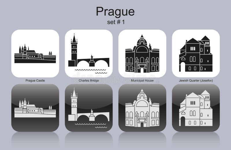 Pictogrammen van Praag vector illustratie