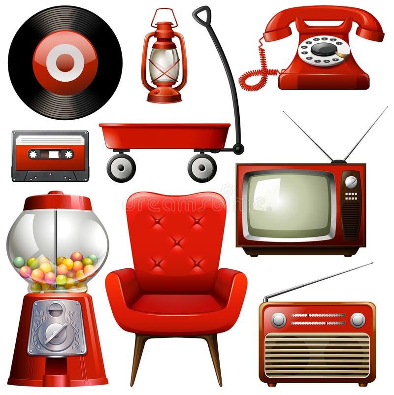 Pictogrammen van retro producten in rode kleur vector illustratie