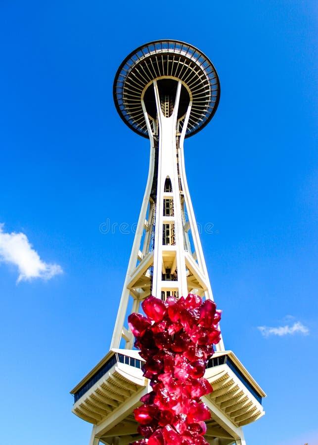 Pictogrammen van Seattle - Ruimtenaald en Chihuly-glastentoongesteld voorwerp stock afbeelding
