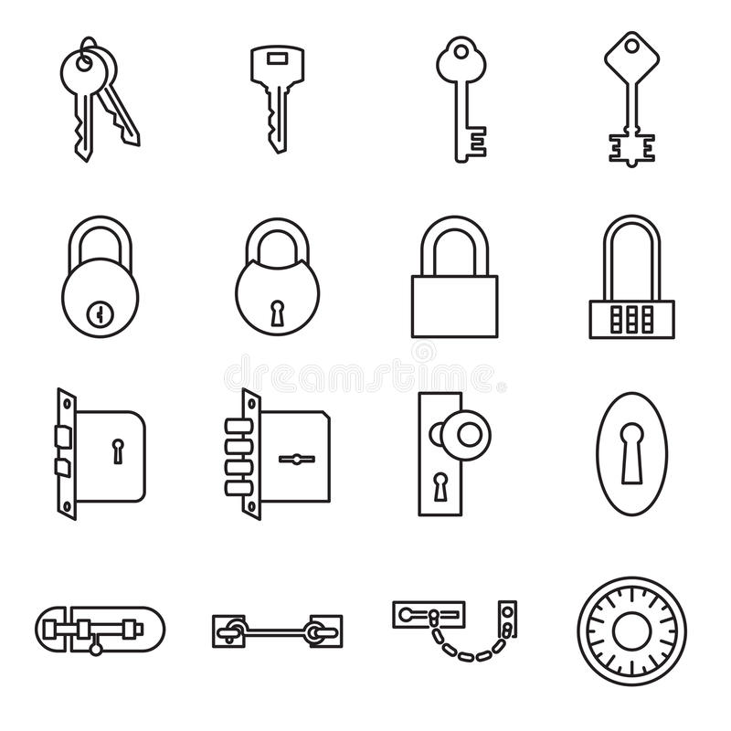 Pictogrammen van sleutels en sloten op een witte achtergrond worden geïsoleerd die stock illustratie