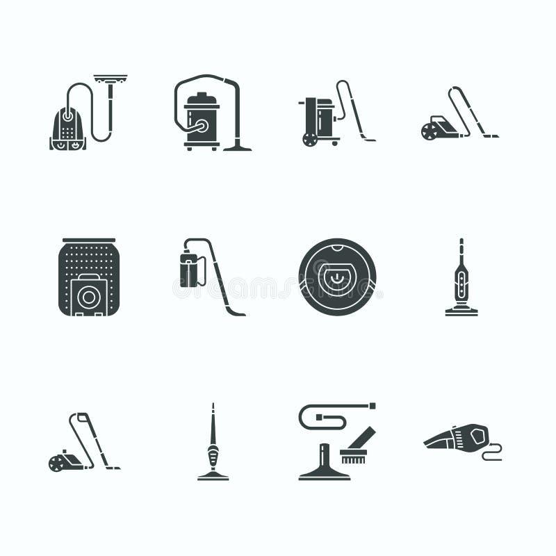 Pictogrammen van stofzuigers de vlakke glyph Verschillende industriële vacuatypes -, robotachtig huishouden, handbediend, bus, na vector illustratie