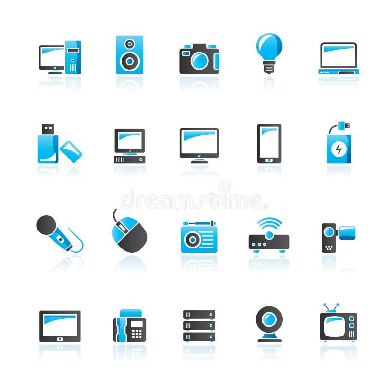 Pictogrammen van technologie en de van verschillende media apparaten royalty-vrije illustratie
