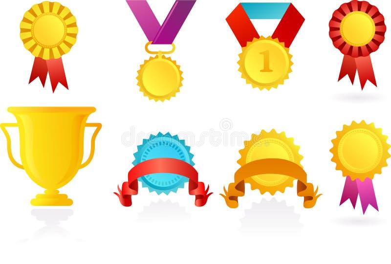 Pictogrammen van trofee en linten stock illustratie