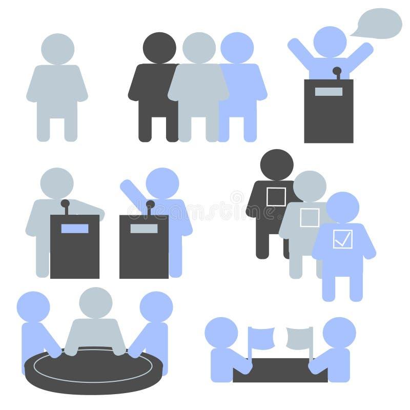 Pictogrammen van verkiezingen, onderhandelingen, team, debat royalty-vrije stock afbeeldingen