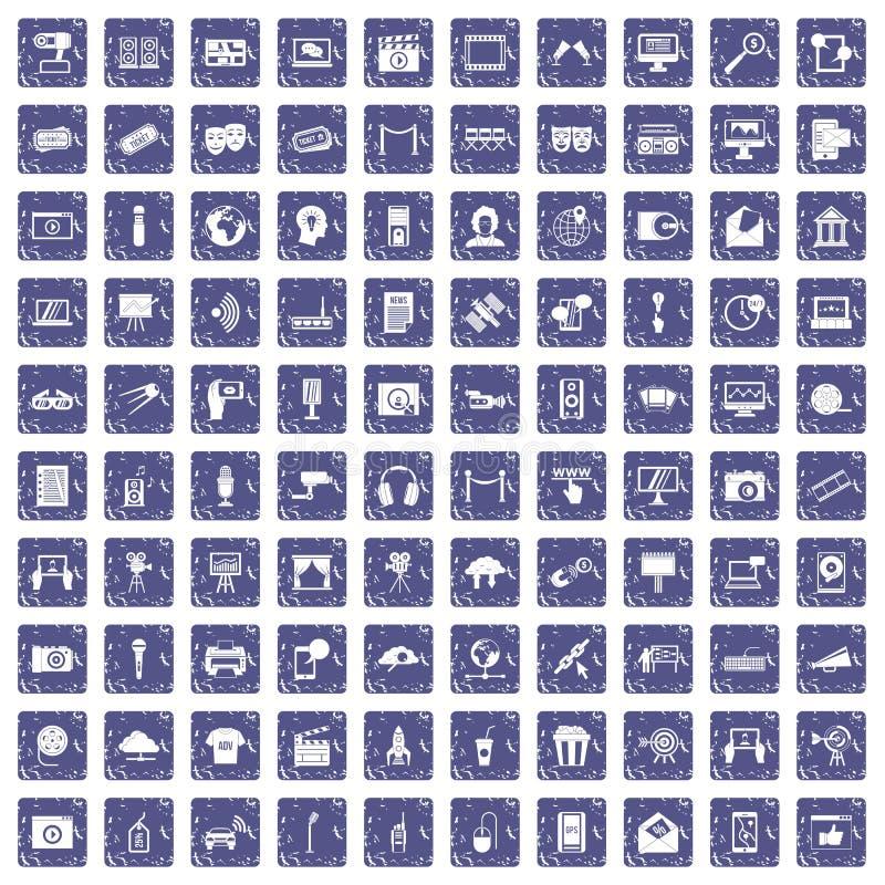 Download 100 Pictogrammen Van Verschillende Media Geplaatst Grunge Saffier Vector Illustratie - Illustratie bestaande uit microfoon, hoorn: 107708337