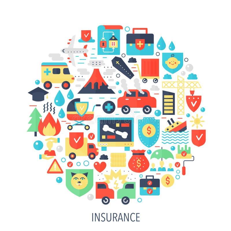 Pictogrammen van verzekerings de vlakke infographics in cirkel - kleur conceptenillustratie voor gezondheid, het leven, de dekkin stock illustratie