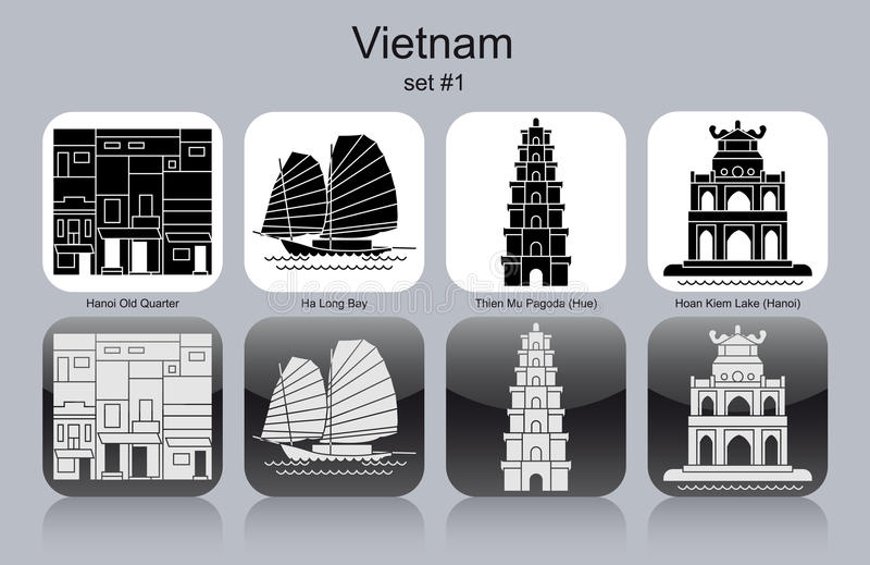 Pictogrammen van Vietnam stock illustratie