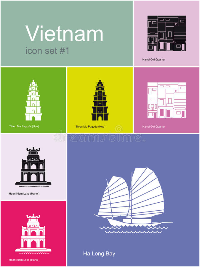Pictogrammen van Vietnam vector illustratie