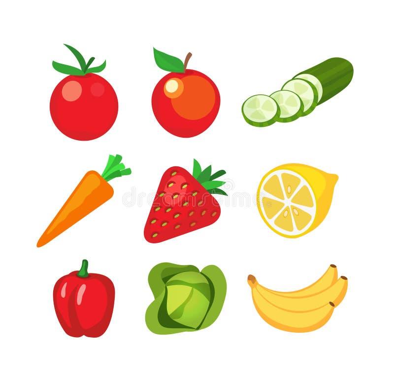 Pictogrammen van vruchten en groenten stock illustratie