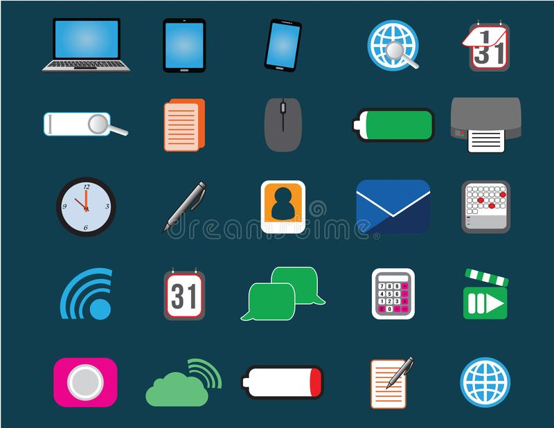 25 pictogrammen van Web, apparaten en mededeling stock illustratie