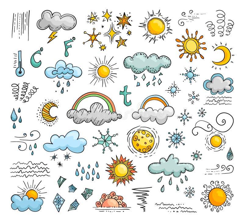 Pictogrammen van weer in de krabbelstijl Reeks vectorelementen vector illustratie