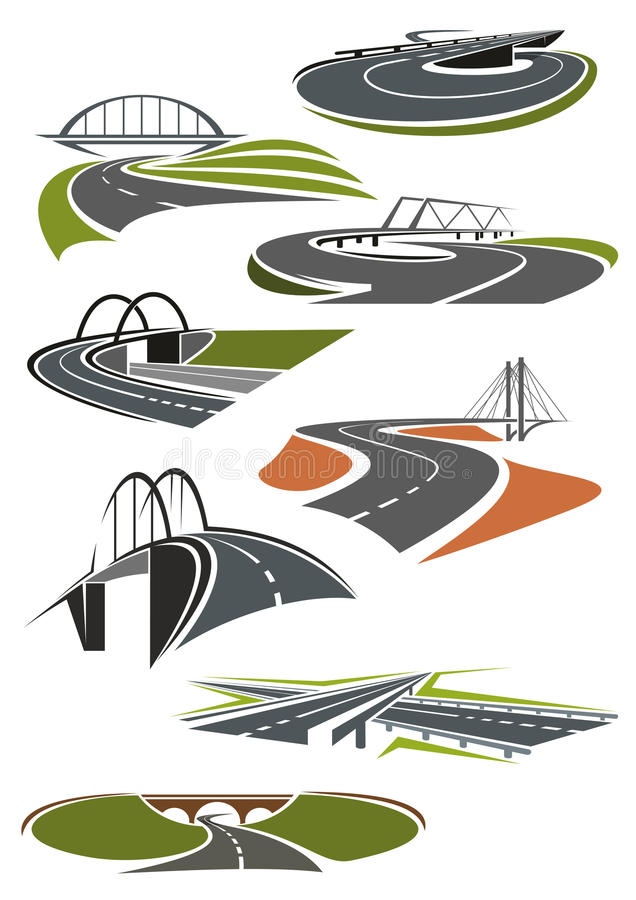 Pictogrammen van wegen met bruggen vector illustratie