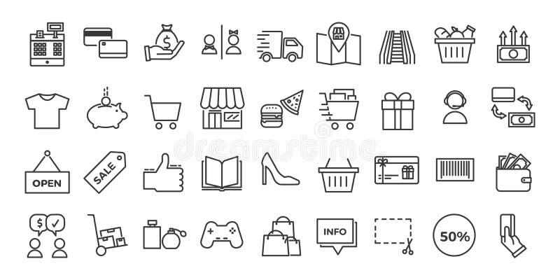 Pictogrammen verwant met handel, winkels, winkelcomplexxen, kleinhandel royalty-vrije illustratie