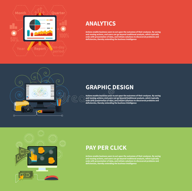 Pictogrammen voor analytics grafisch ontwerp van het Webontwerp en royalty-vrije illustratie