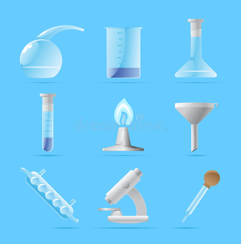 Pictogrammen voor chemisch laboratorium stock illustratie