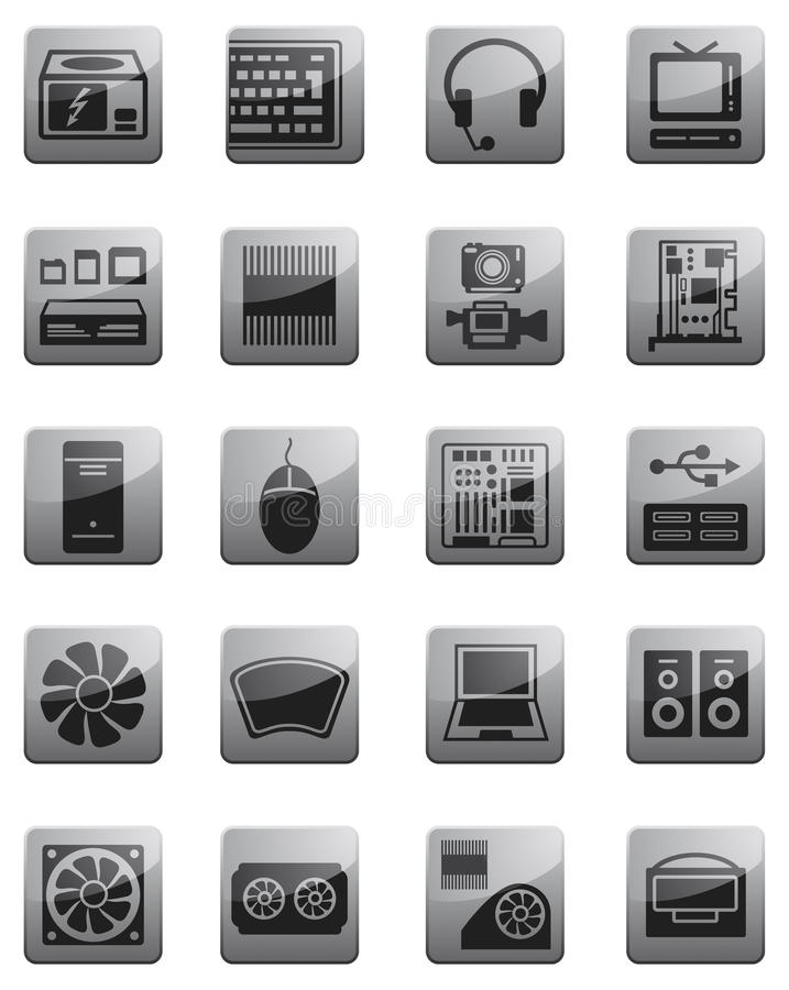 Pictogrammen voor de apparatuur van de Gegevensverwerking vector illustratie