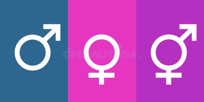 Pictogrammen voor de mens, vrouw en transsexueel royalty-vrije illustratie