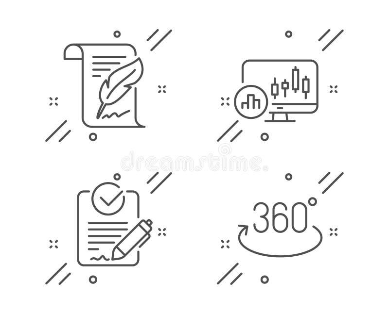 Pictogrammen voor doezels, Rfp- en Candlestick-kaart Volledig rotatiesymbool Vector stock illustratie