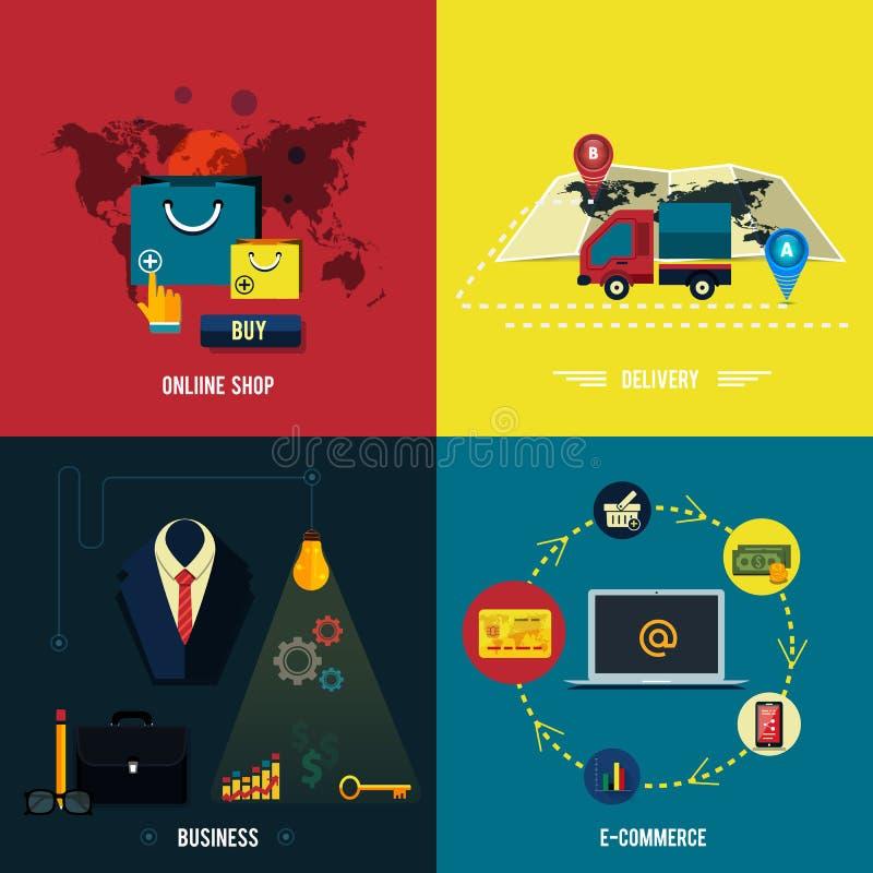 Pictogrammen voor elektronische handel, levering die, online shopoing. royalty-vrije illustratie