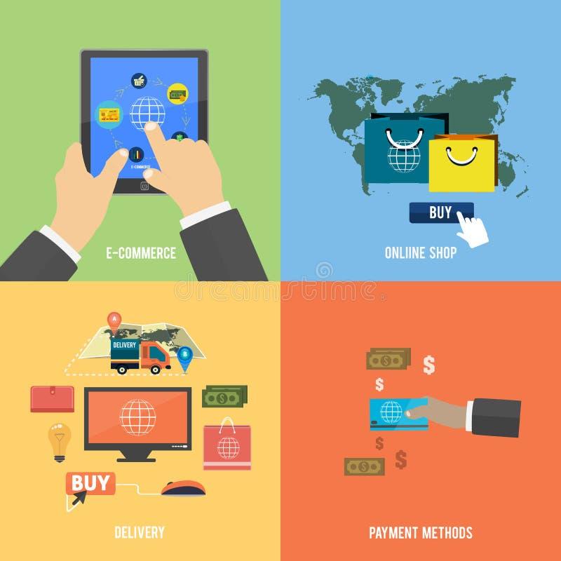 Pictogrammen voor elektronische handel, levering die, online shopoing stock illustratie