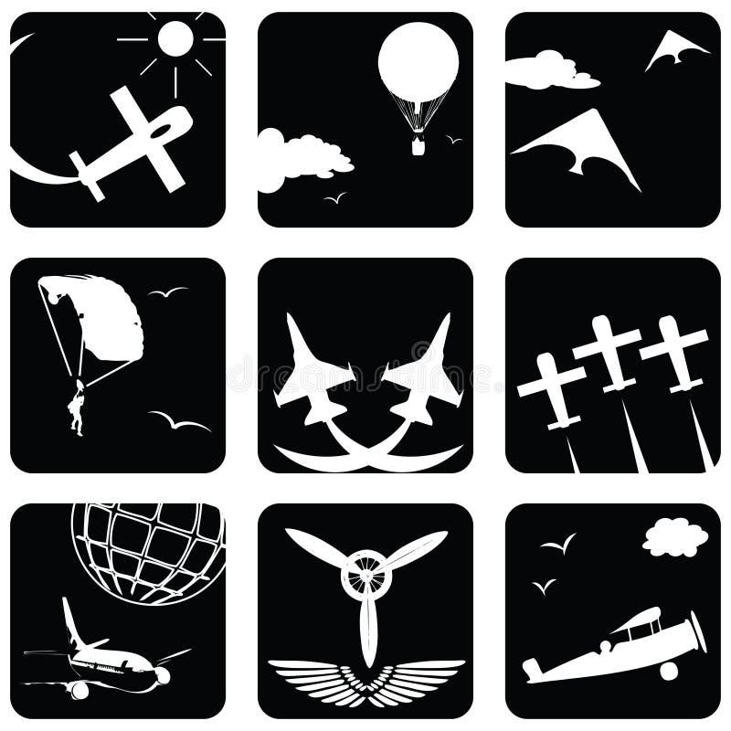 Pictogrammen voor luchtvaart stock illustratie