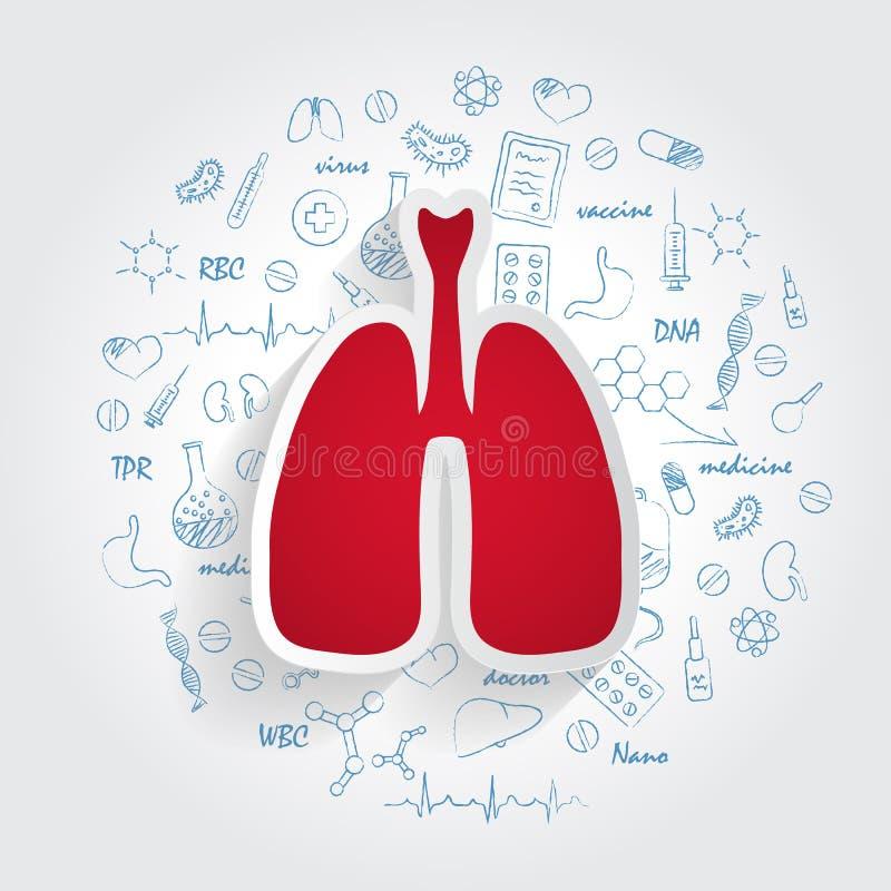 Pictogrammen voor Medische Specialiteiten Pulmonology en Longenconcept Vectorillustratie met Hand Getrokken Geneeskundekrabbel royalty-vrije illustratie