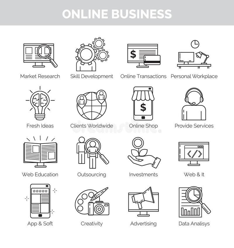 Pictogrammen voor online bedrijfs planning, ontwikkeling en speares vector illustratie