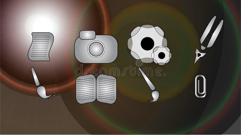 Pictogrammen voor oplossing stock foto's