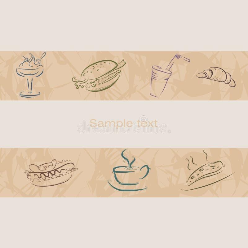 Pictogrammen voor pizzerias Naadloze riem met een patroon Koffie vector illustratie