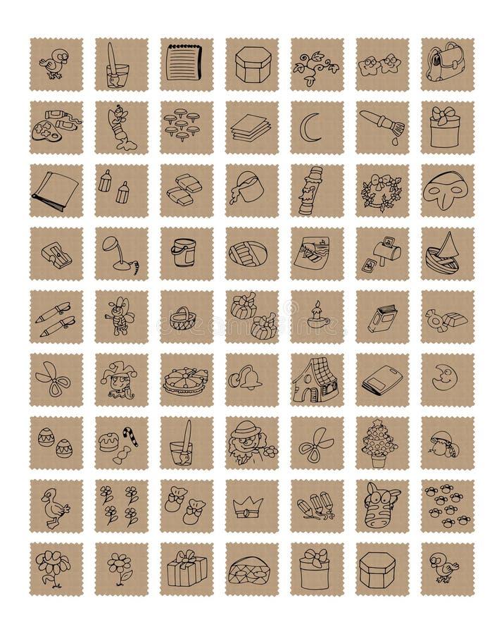 Pictogrammen voor plaatsen die kunstambachten en giften verkopen, en kantoorbehoeften Het document van kleurenpotloden de rubberp stock illustratie
