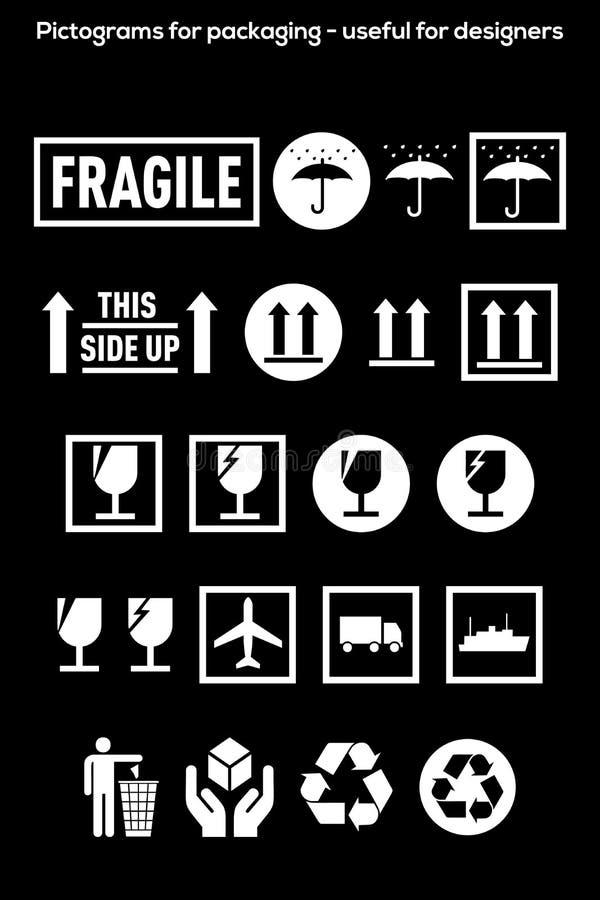 Pictogrammen voor verpakking geïsoleerd op zwarte - nuttig voor ontwerpers stock illustratie