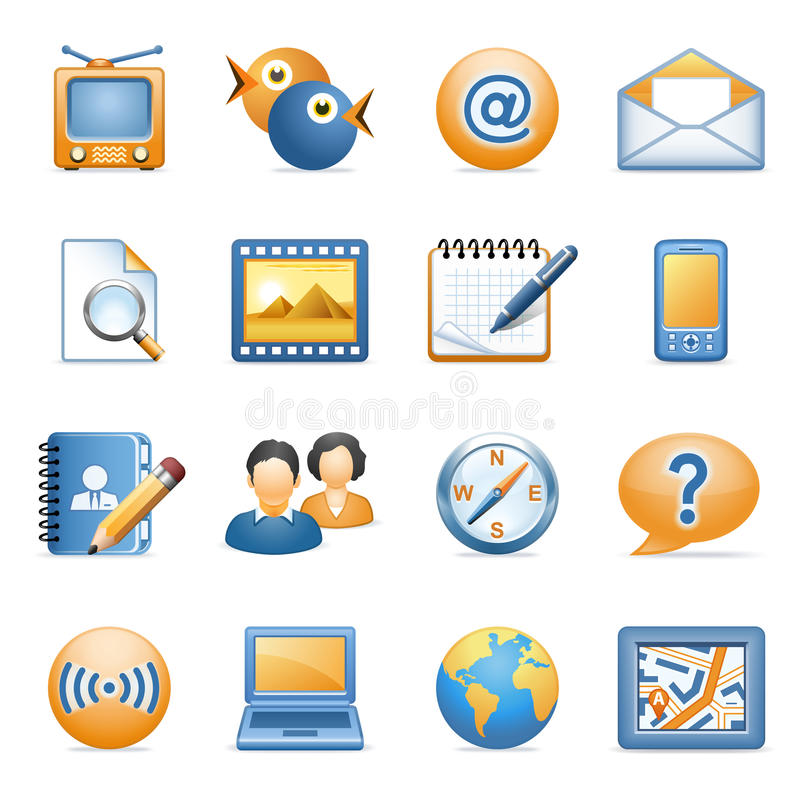 Pictogrammen voor Web blauwe oranje reeks 1 stock illustratie