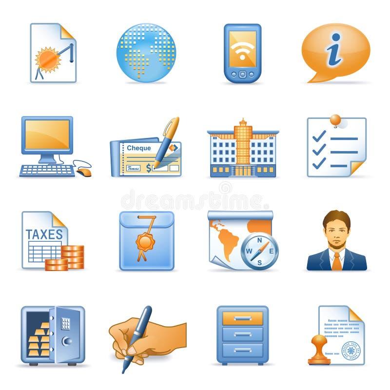 Pictogrammen voor Web blauwe oranje reeks 4 stock illustratie
