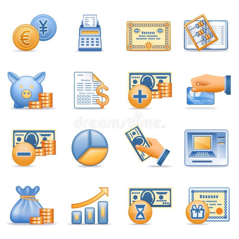 Pictogrammen voor Web blauwe oranje reeks 7 royalty-vrije illustratie