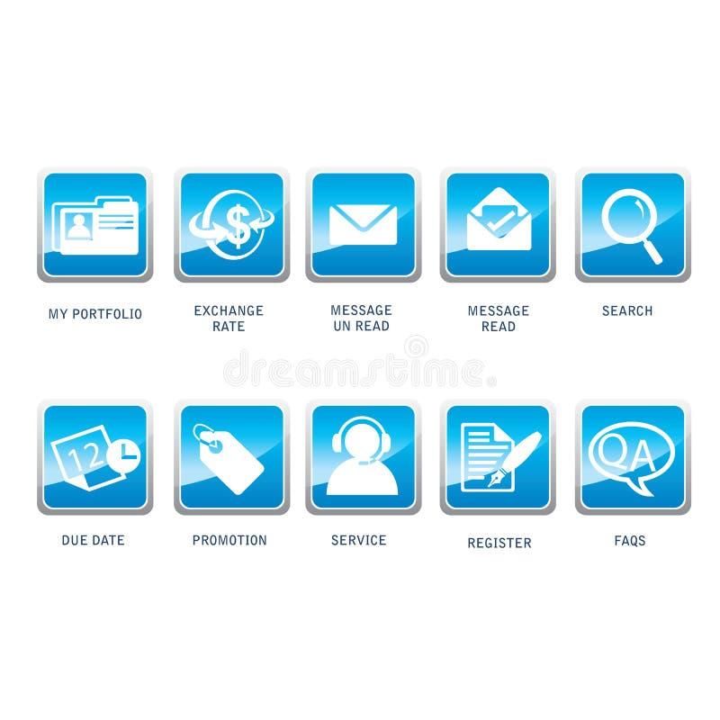 Pictogrammen voor Web, Zaken, Internet, en Mededeling stock illustratie