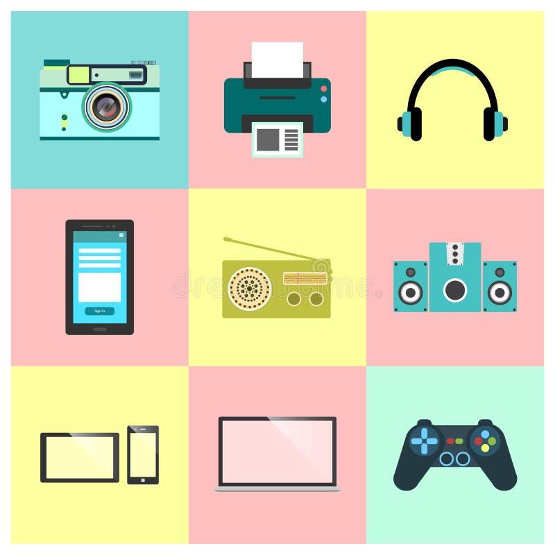 Pictogrammen voor Webontwerp, seo, sociaal media en Internet Reeks van het technologie de Vlakke Pictogram royalty-vrije illustratie