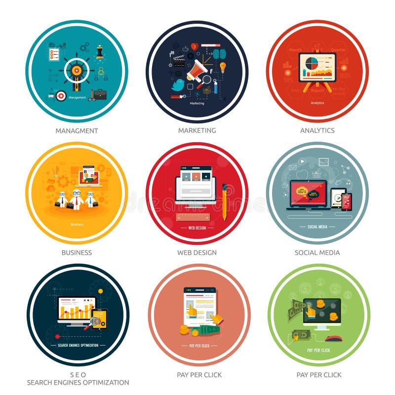 Pictogrammen voor Webontwerp, seo, sociale media stock illustratie