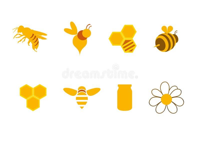 Pictogrammenhoning en bijen stock illustratie